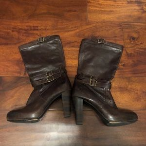 Frye Brown Leather Heeled Boots